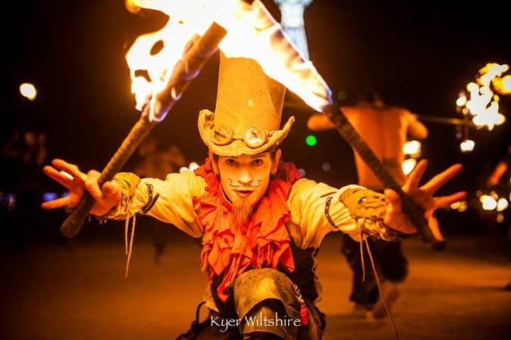 Burning Man Festival 2012 tribal gypsy fire dancer spinner